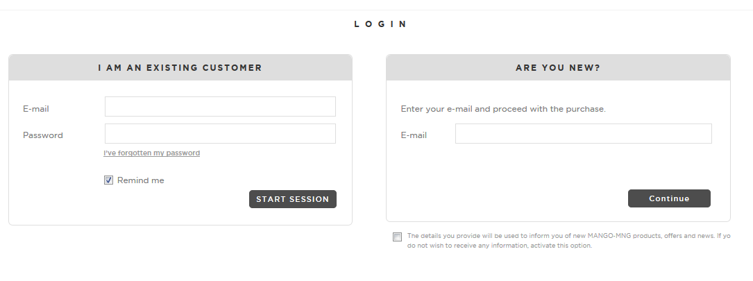 Mango Log-in Page