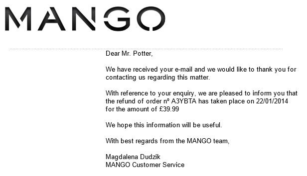 Mango email correspondance