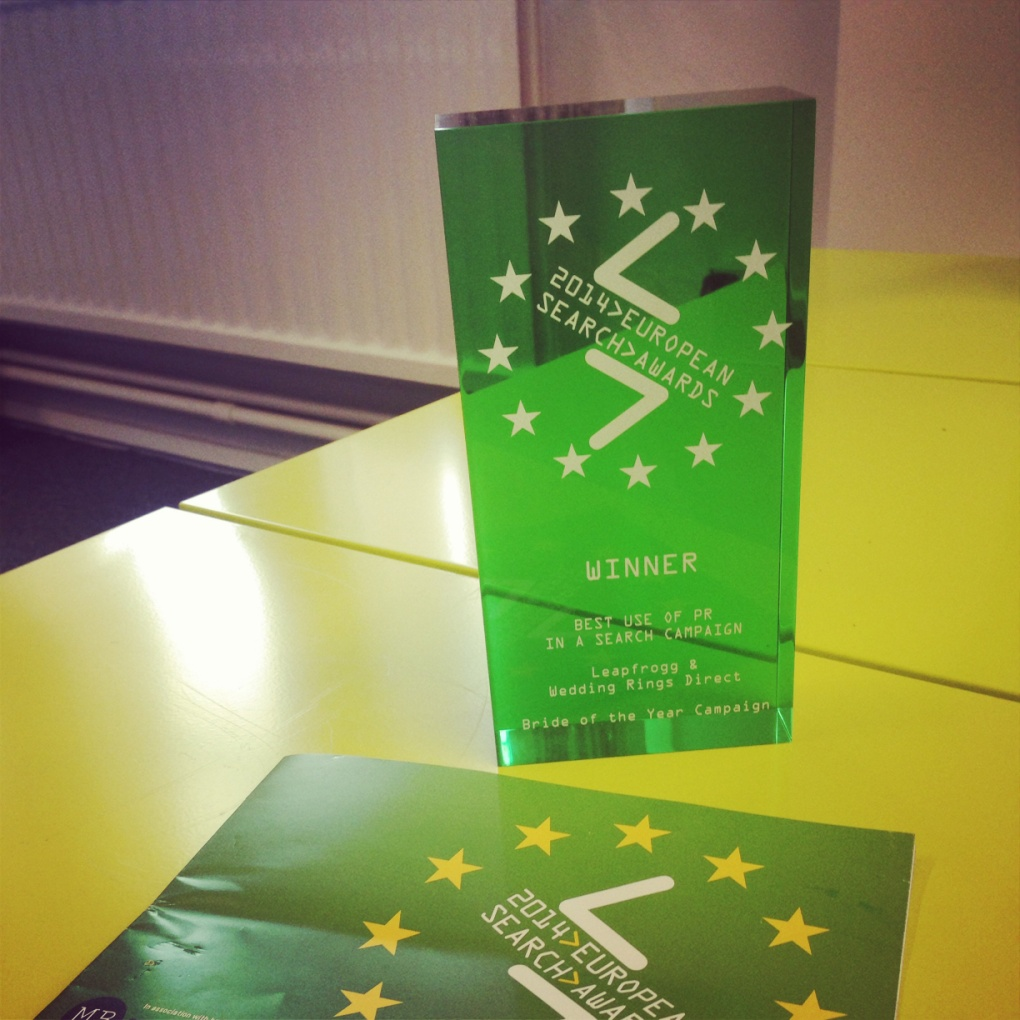 Leapfrogg's European Search Awards Trophy