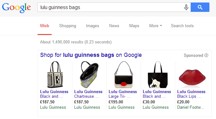 Lulu Guinness Google Shopping Campaign