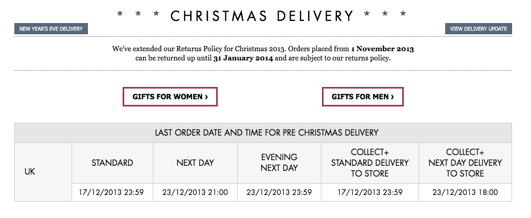 asos Christmas Delivery