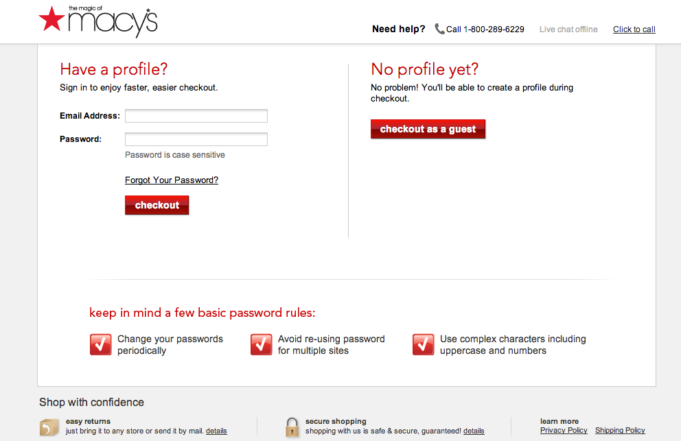 Macy's one page checkout
