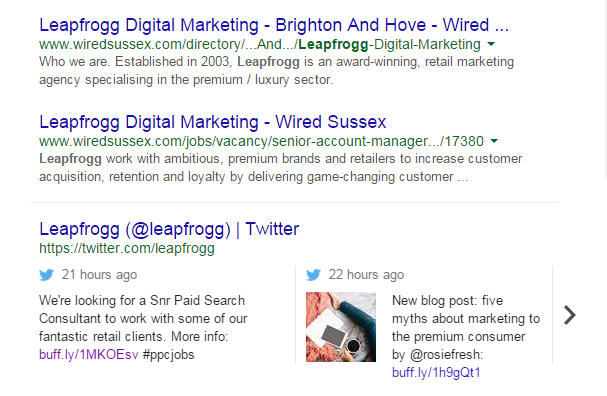 Leapfrogg tweets in search results