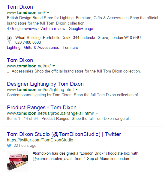 Tom Dixon tweets in search results