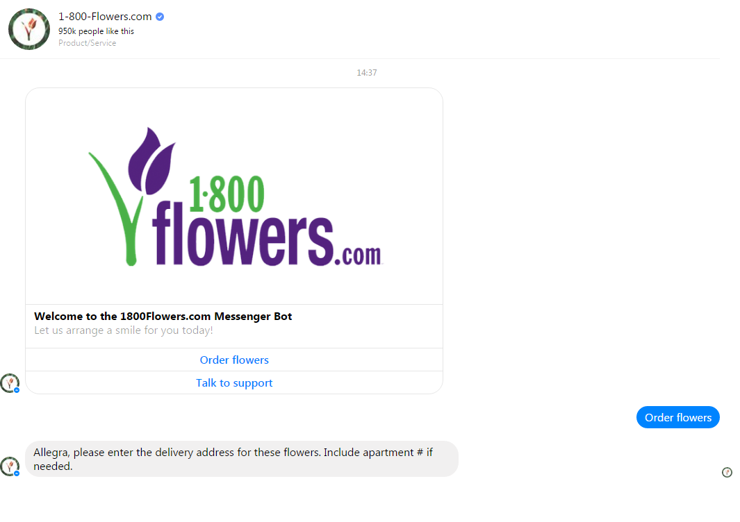 1800 Flowers Live chat